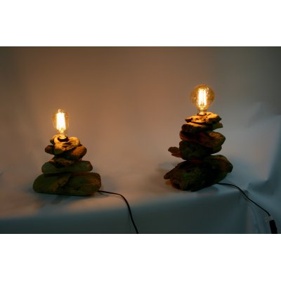 lampade Legno Mare Piccola e Media con lampadine Edison ovale e a sfera