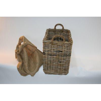 cesto porta legna Ticino con sacco in iuta sfoderabile facilmente