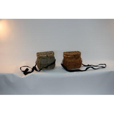 cesti porta funghi modello Milano in giunchino rossi e giunchino grigio