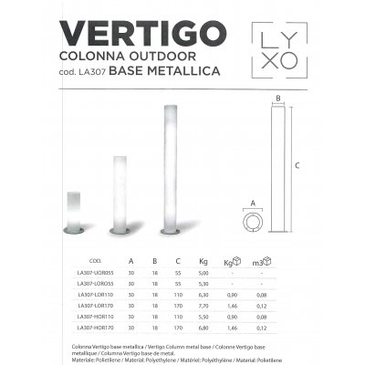 scheda tecnica colonna Vertigo outdoor base metallica