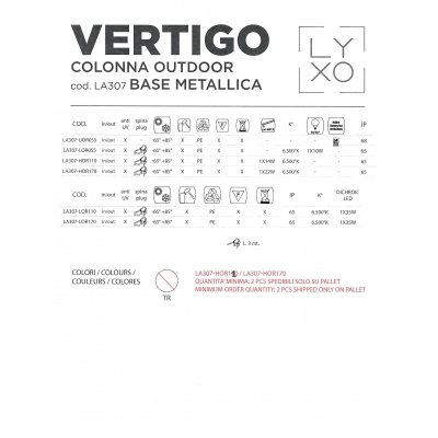 scheda tecnica colonna Vertigo outdoor base metallica
