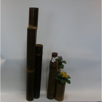 porta candele bambù tinta miele antico e tinta nero naturale