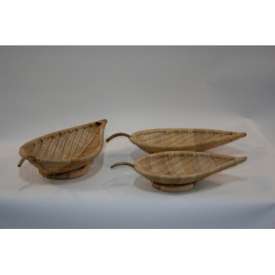 set 1-3 vassoio foglia in midollino naturale