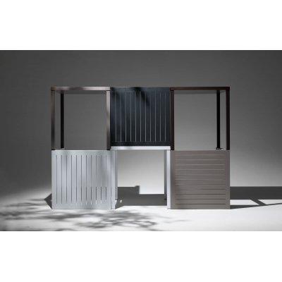 composizione tavoli Cube colori caffè, antracite, bianco e tortora