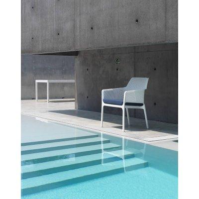 poltrona Net Relax bianca con cuscino Net Relax tessuto acrilico Denim 070