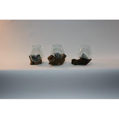 vaso Industrial con base legno piccolo