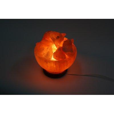 lampada di sale con ciotola - accesa