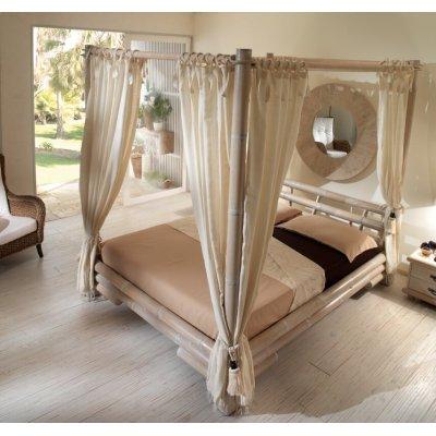 letto Tabanan con baldacchino e set 8 tende