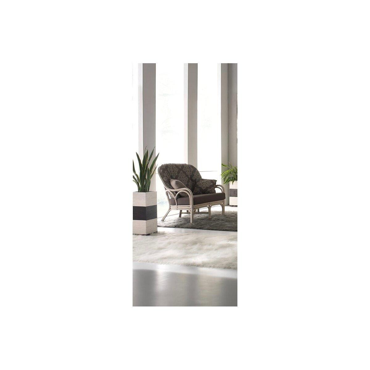 divano 2 posti Galileo in rattan bianco
