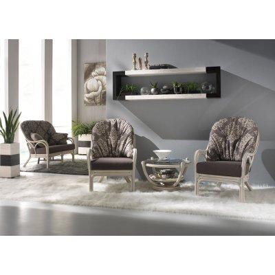 salotto Galileo colore bianco con tavolino Luna con vetro