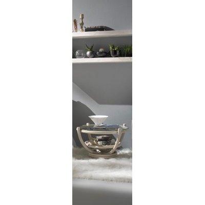 tavolino Luna colore bianco con piano vetro