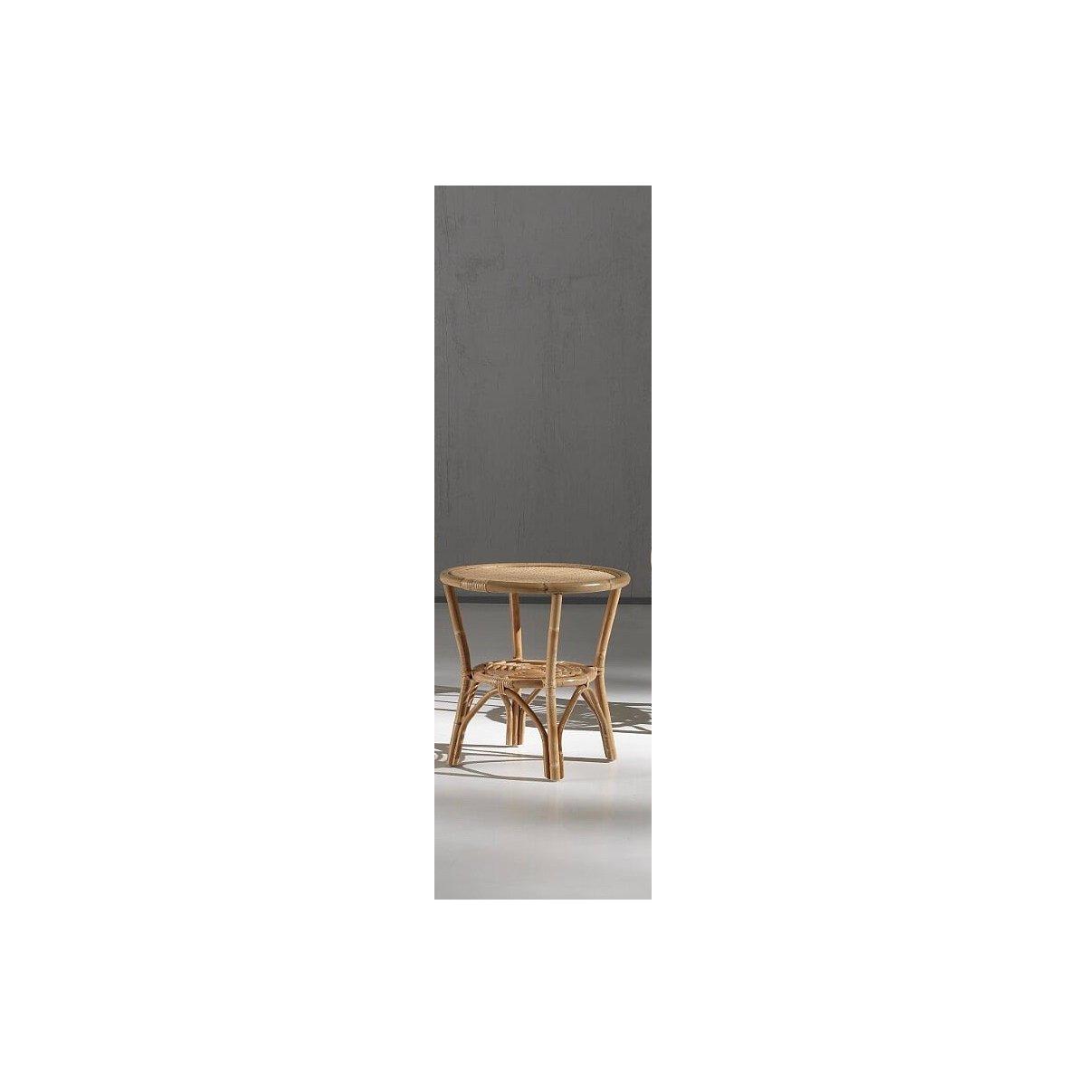 tavolino 60 con piano in paglia di vienna e piano inferiore a spirale