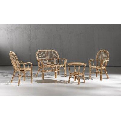 poltrone e divano 2 posti Sole e tavolino 60 in giunco naturale