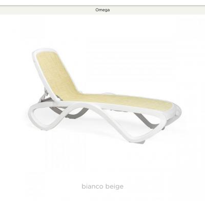 lettino Omega bianco con tessuto sintetico beige 115 - combinazione n. 3