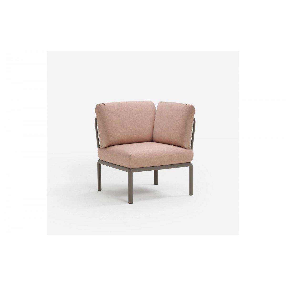 Komodo elemento angolo colore tortora con tessuto acrilico rosa quarzo 066