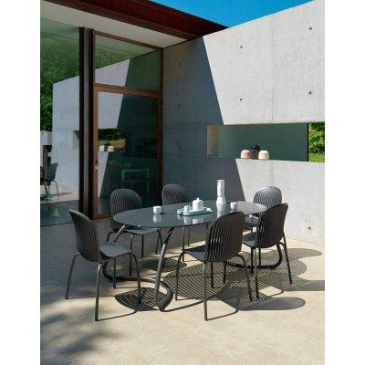set formato da tavolo Loto Dinner 190 e sedie Ninfea Dinner colore antracite
