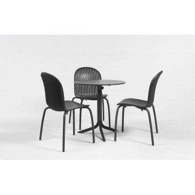 base Clip con piano laminato 60 e sedie Ninfea Dinner colore antracite