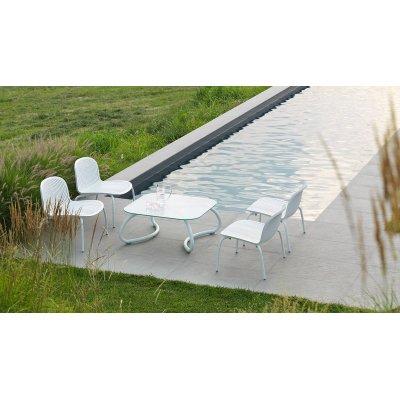 composizione poltrona Ninfea Relax colore bianco con tavolino Loto Relax 95 colore bianco