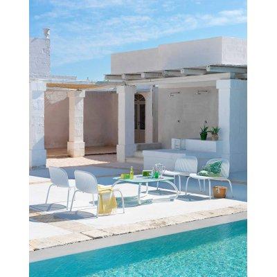 poltrona Ninfea Relax colore bianco con tavolino Loto Relax 95