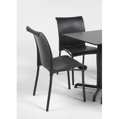 sedia Regina colore antracite, base Calice con piano laminato