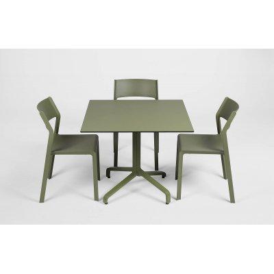 base Frasca Maxi Fix  colore agave e piano laminato colore agave e sedie Trill Bistrot