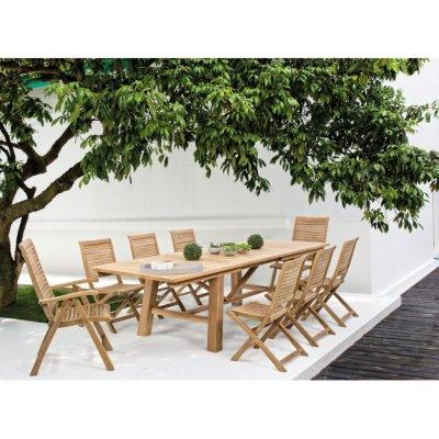 tavolo con sedie Bali senza braccioli e sedia reclinabile Bali