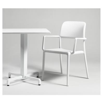 base Fiore con piano Durel Top, sedia Riva colore bianco