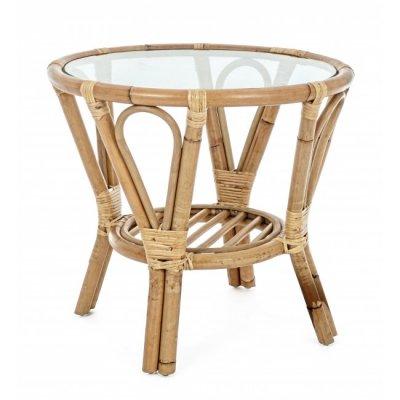 tavolino Canaria D55 in giunco naturale con vetro temperato