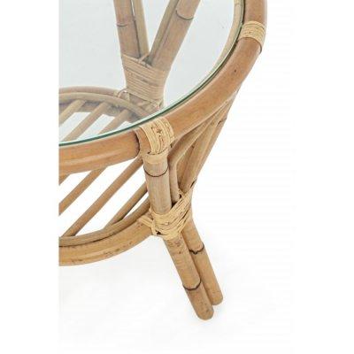 particolare tavolino Canaria D55 in giunco naturale con vetro temperato