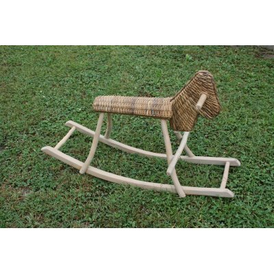 Cavallino struttura in legno di tek con intreccio di corteccia