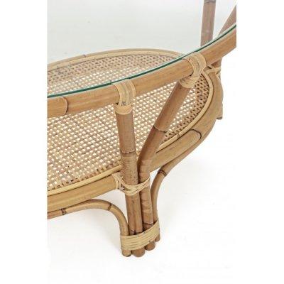 particolare tavolino in giunco naturale Galdera