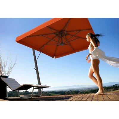 ombrellone braccio Napoli con volant o pendente telaio colore antracite