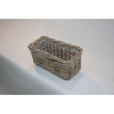 cesto copri vaso Udine in giunchino grigio decapato bianco misura piccola