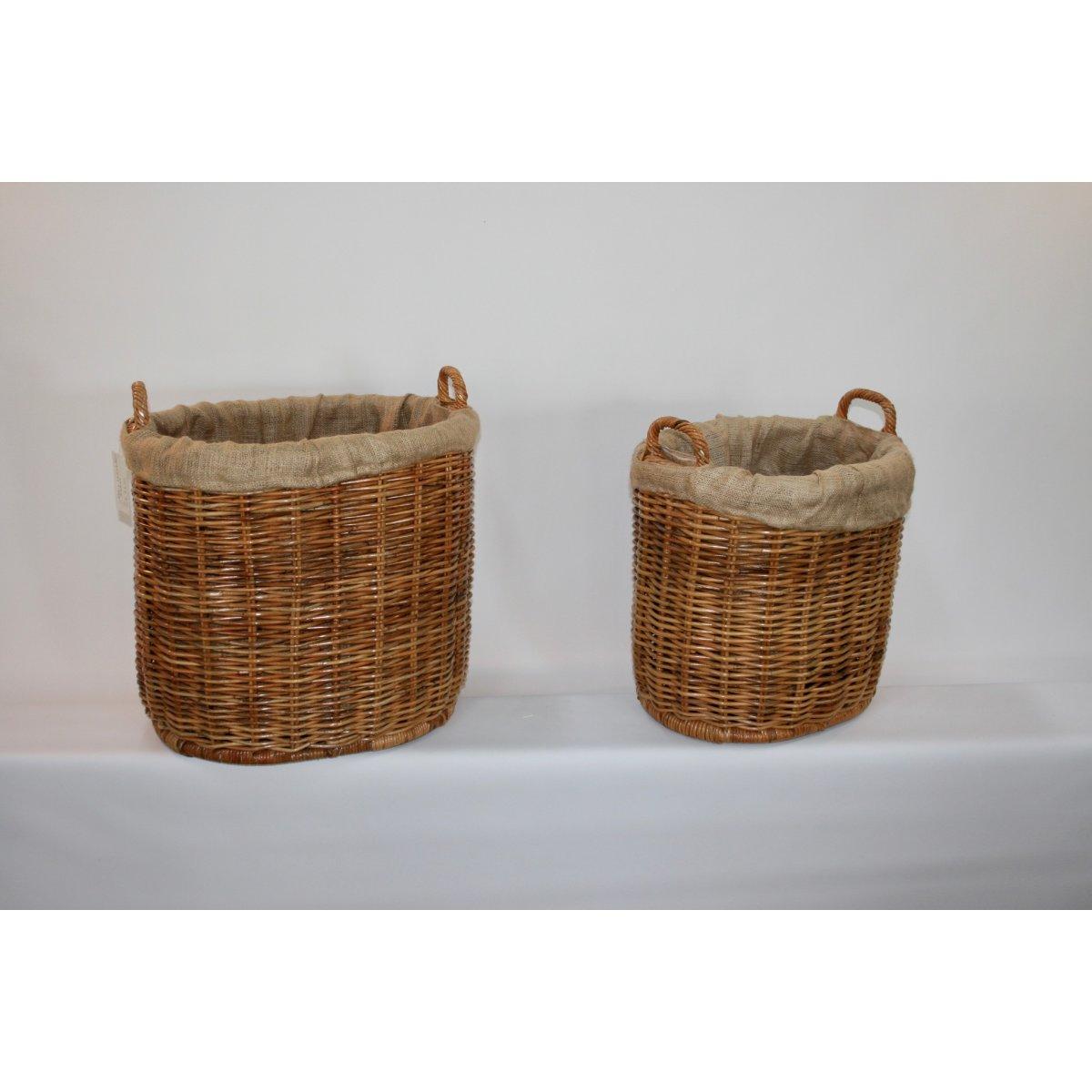 set cesti porta legna modello Garda Alu in giunchino rosso