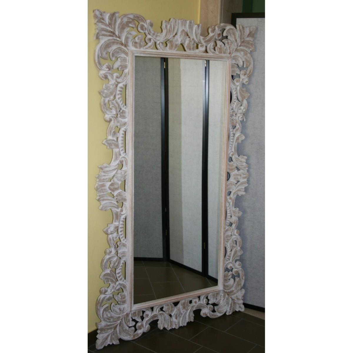 specchio Giada in legno intarsiato decapato bianco