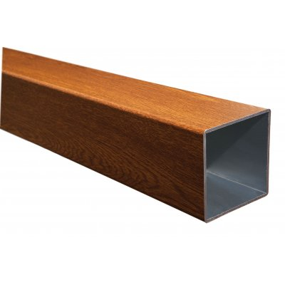sezione in alluminio con finitura legno di iroko