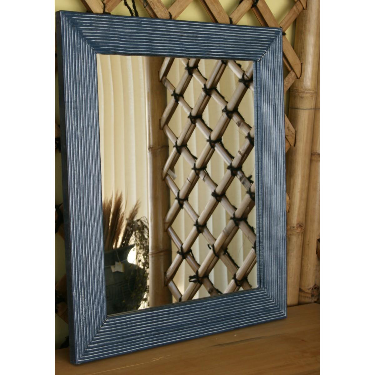 Specchio con cornice in legno di colore blu