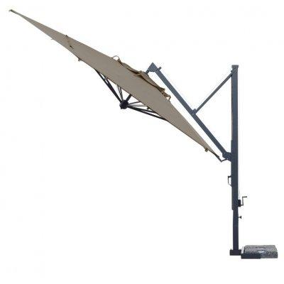 ombrellone retrattile Galileo Dark con tessuto Grigio Taupe T6 senza pendente - inclinato
