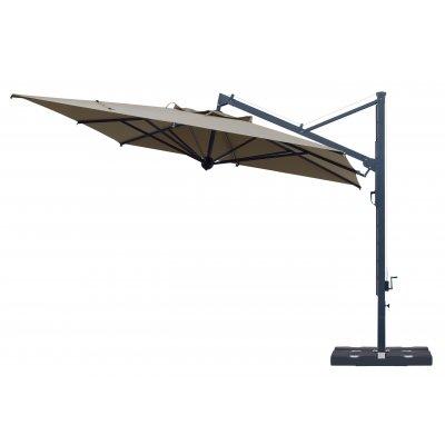 ombrellone retrattile Galileo Dark con tessuto Grigio Taupe T6 senza pendente - aperto