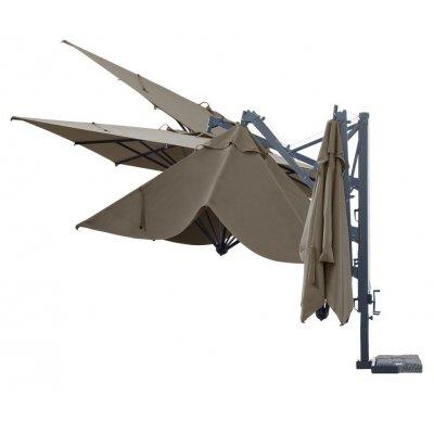 ombrellone retrattile Galileo Dark con tessuto Grigio Taupe T6 senza pendente - varie posizioni
