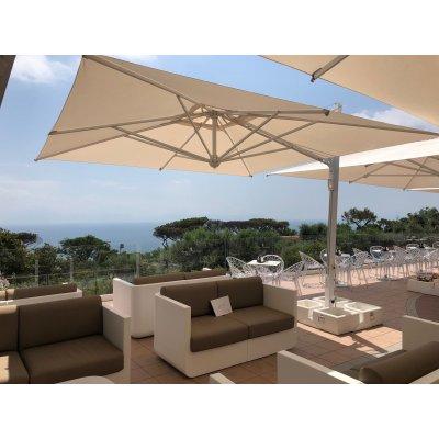ombrellone retrattile Galileo Maxi Starwhite, tessuto acrilico Ecru, base in appoggio 4 vani cod C4040LEB