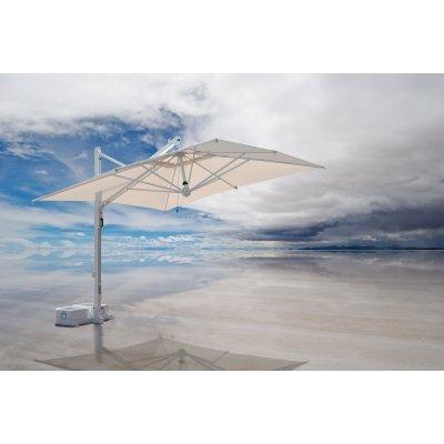 ombrellone Galileo Starwhite, tessuto acrilico Ecru, senza volant, base in appoggio con 2 vasche cem. bianche.