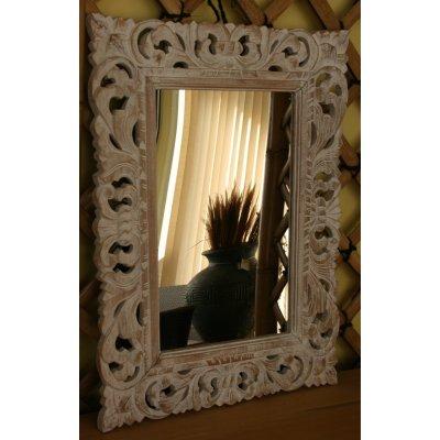 Specchio con cornice in legno colore decapato bianco