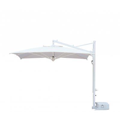 ombrellone Galileo Starwhite, tessuto acrilico Ecru, senza volant, base in appoggio con 2 vasche cem. bianche - aperto orr.