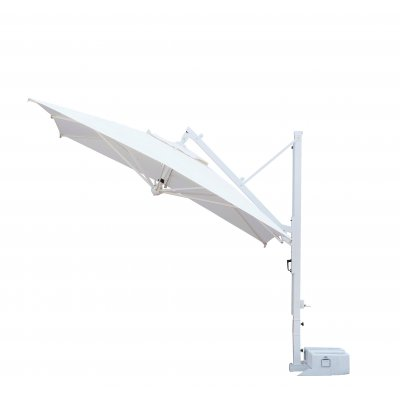 ombrellone Galileo Starwhite, tessuto acrilico Ecru, senza volant, base in appoggio con 2 vasche cem. bianche - aperto inclinato