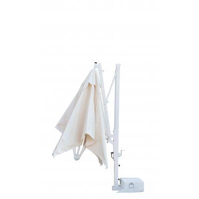 ombrellone Galileo Starwhite, tessuto acrilico Ecru, senza volant, base in appoggio con 2 vasche cem. bianche - fase chiusura.