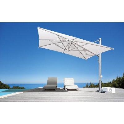 ombrellone retrattile Galileo Inox, tessuto Bianco senza volant, base in appoggio, vasi in cemento bianchi