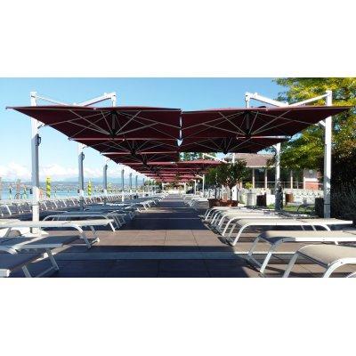 ombrellone retrattile Galileo Inox, tessuto Bordeaux senza volant, base in appoggio, piastre in cemento e graniglia