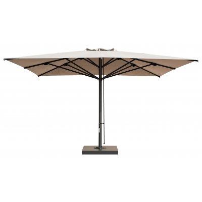 ombrellone Capri Dark, tessuto ecru senza pendente, base C4040LEB a 4 vani, carter BDC