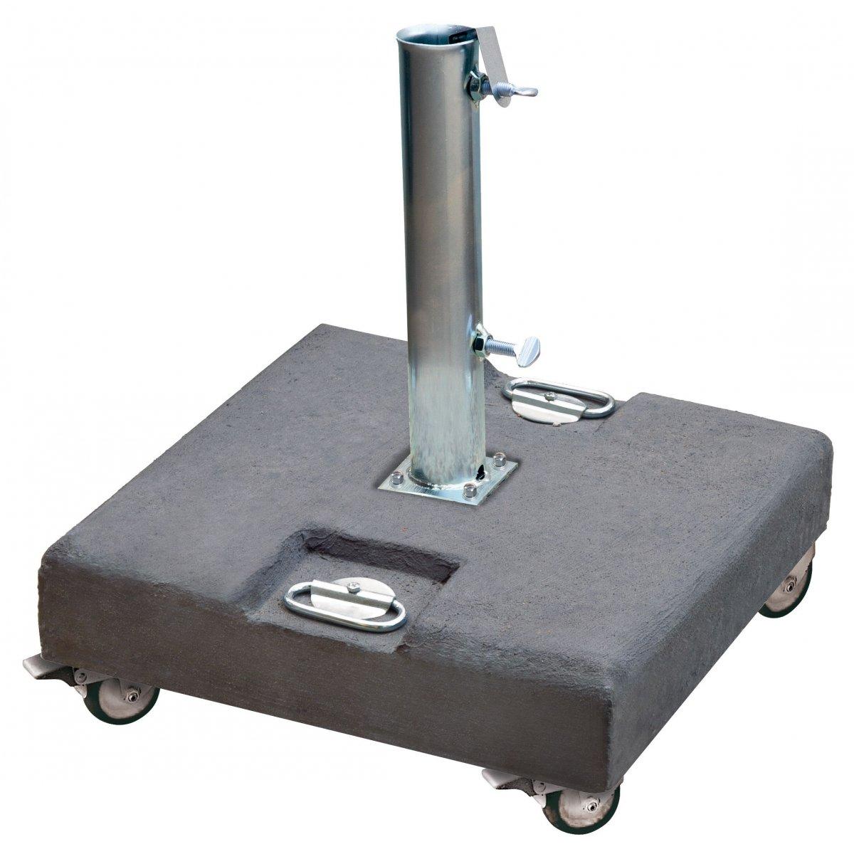 piastra in cemento grigio con tubo, maniglie e ruote